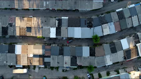 çinko : Roofs of old garages from above, aerial shoot