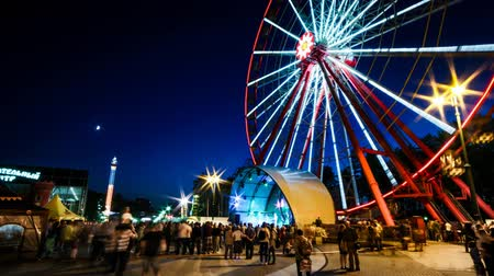 Kharkiv, Ukraine - September 20, 2015:  time lapse of ferris wheel at night in Kharkiv Gorky Park