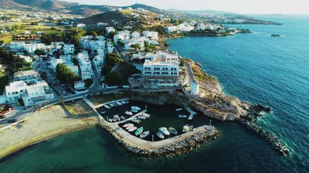 Киклады : Greece, Paros - June, 06 2018: Aerial view at island Paros from coast Стоковые видеозаписи