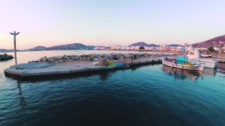 Paros, Greece - June 3, 2018: View of port with parked boats Стоковые видеозаписи