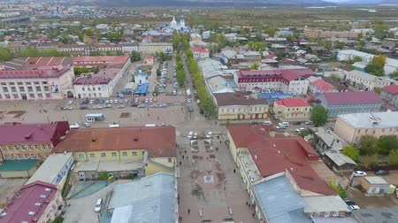 bird's eye view : An aerial view of the street of the city of Ulan-Ude, Russia, Republic of Buryatia Stock Footage