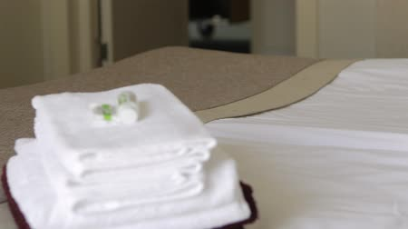 konuksever : Maid tidying up in hotel suite and bringing few clean fresh towels for residents. Stok Video