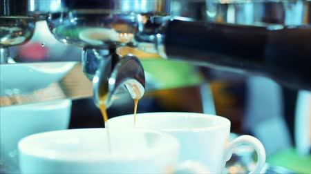 tasting : Coffee espresso preparation. Stock footage.