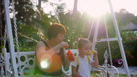 explodindo : Happy smiling Family, grandmother with granddaughter are playing, blowing soap bubbles in the summer outdoor. Stock Footage. Slow motion. Stock Footage