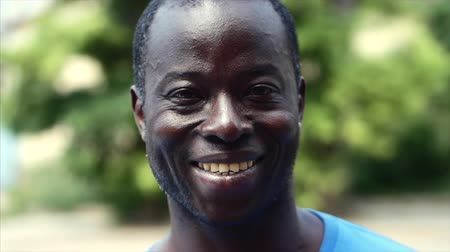 dread : Closeup portrait of smiling African American mans face