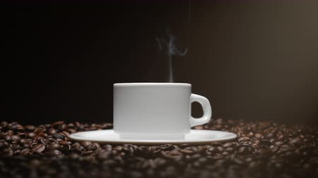 italian coffee : Coffee Cup and coffee beans. White Cup of steaming coffee with roasted beans around it. Stock Footage