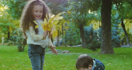 家庭 : Beautiful Fashion Happy Smiles Stylish Joyful European Little Cute Brother and Sister Have Fun Walking in Autumn Park, Happy to Play with Autumn Foliage, Boy Gives a Bouquet of Leaves to His Beloved Sister, Girl Kisses His Little Brother. Family concept.
