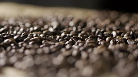 джут : Coffee beans in a static state. Coffee beans. Стоковые видеозаписи