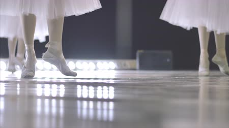 тапочка : Ballet. Close-up of a girls legs in white ballet shoes during ballet training. Element of classical dance. 4K.