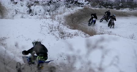 quad bike : Concept of sports, healthy recreation. Quad Biking in the snow.