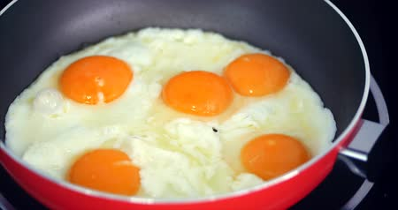 omeleta : The Chef Prepares Frying Eggs, Cook in Butter, Seasoned With Salt and Black Pepper and Green Onions in a Small Red Pan. Concept of Healthy Eating.