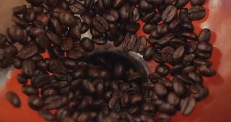 çuval : Premium Coffee Beans After Roasting, Ground in a Coffee Grinder. Stock Footage. Concept Start the Day with Coffee. Stok Video