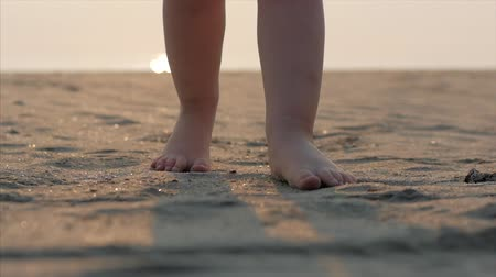 Silhouette of childrens Feet walking on wet sand in along a tropical beach on a tropical ocean background. Concept: Children, Happy Childhood, Summer, Child, Vacation. Soft focus. Wideo