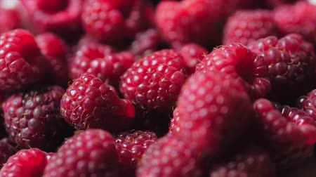 Close Up Berry. Fresh, Juicy Raspberry Background, Ripe. Macro Red Raspberries Fruit. Fresh Raspberry Fruits As Food Dackground. Healthy Food Organic Nutrition.