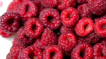 Close Up Rotation Loopable Berry. Fresh, Juicy Raspberry Background, Ripe. Macro Red Raspberries Fruit. Fresh Raspberry Fruits As Food Dackground. Healthy Food Organic Nutrition.