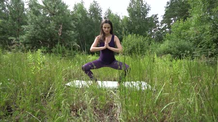 dengelemek : young pregnant woman doing yoga outside.