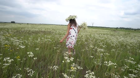 margaréta : Pregnant woman picking camomile flowers on summer meadow.