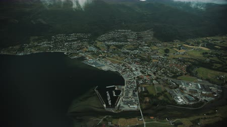altitude : Norwegian west coast Town Nordfjordeid Stock Footage