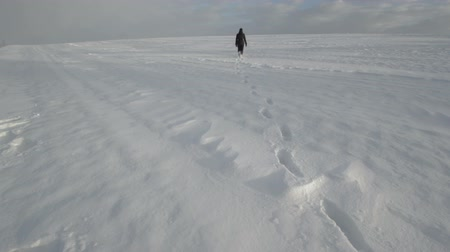 deep snow : Woman in sportswear walking through pure winter snow field. Camera locked down.