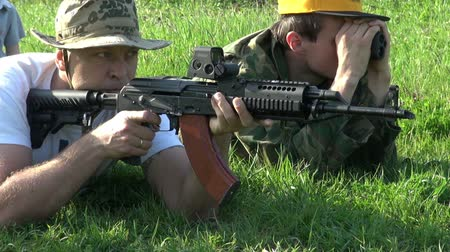 bulletproof : Video shooting weapons. Stock Footage
