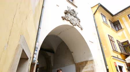 michael : Bratislava, Slovakia, tilt up of the Saint Michael gate Stock Footage