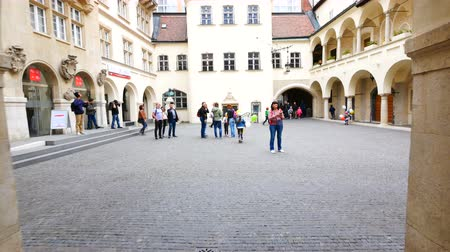 insignie : Bratislava, Slovakia, kid run inside the courtyard with a ballon