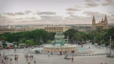 triton : Valletta, Malta, time lapse of Triton square at sunset Stock Footage