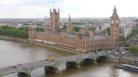 big ben : Aerial view of London, England  Stock Footage