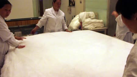 anyagi : Workers creating a silk mattress in a factory, China