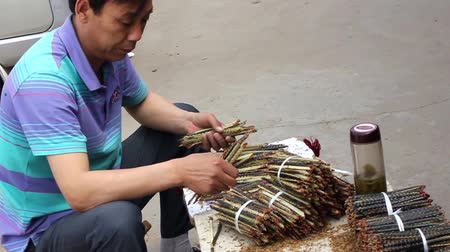 aphrodisiac : Man organizing centipedes in a medicinal street market in Beijing, China