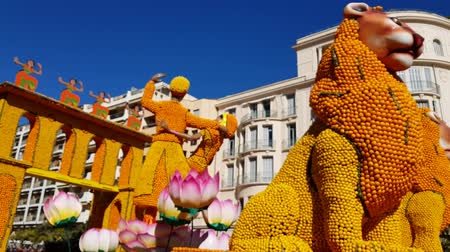 lion : Art made of lemons and oranges in the famous Lemon Festival (Fete du Citron) in Menton, France