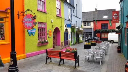 eire : Colorful houses in the Market street and the Newmans Mall, Cork