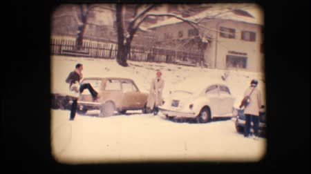 kavga : Vintage 8mm. Friends having a snow fight