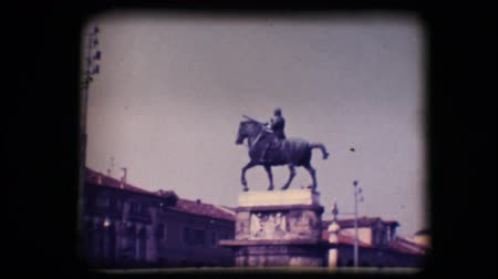 eight : Vintage 8mm. Original footage digitalized. Statue of man on horseback in Padova, Italy