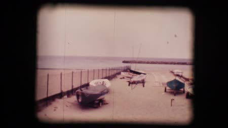 lonely : Vintage 8mm. Original footage digitalized. Lonely beaches in winter in San Remo, Italy