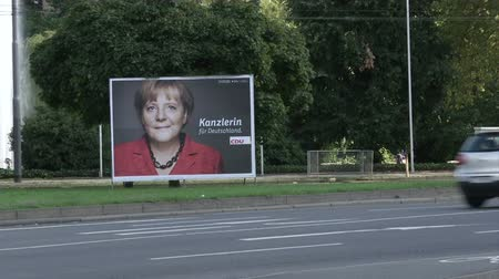chancellor : Angela Merkel poster during presidential campaign in Frankfurt, Germany