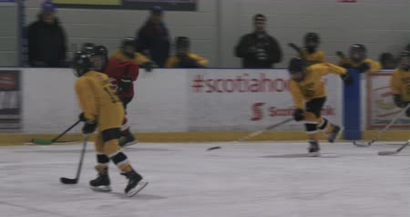 hockey rink : Kid attacking during hockey training on ice rink Stock Footage