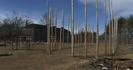 reconstructed : Reconstructed 15th century native american Iroquoian village in Crawford lake, Ontario, Canada