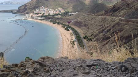 takımadalar : Teresitas beach, in northern Tenerife, Canary Islands, with view of hills facing the ocean