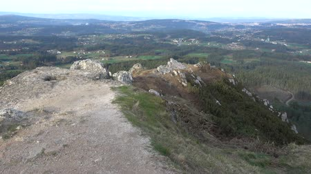 hacı : Countryside seen from the top of the Pico Sacro, a summit in the central Galician massif, in Galicia, Spain. According to the legend, this was going to be the grave of the apostle Saint James the Great Stok Video