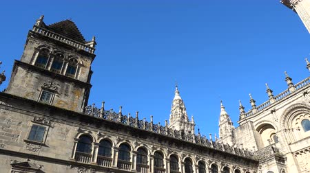 final destination : Lateral side of the cathedral in Santiago de Compostela, Spain, culmination of the Camino de Santiago pilgrimage route Stock Footage
