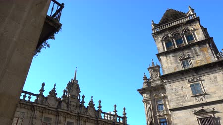 final destination : Tower on the side of the cathedral in Santiago de Compostela, Spain, culmination of the Camino de Santiago pilgrimage route Stock Footage