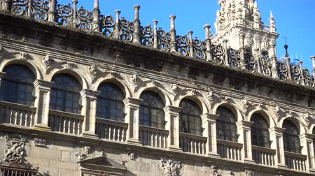 final destination : Detail of the lateral facade of the cathedral in Santiago de Compostela, Spain, culmination of the Camino de Santiago pilgrimage route