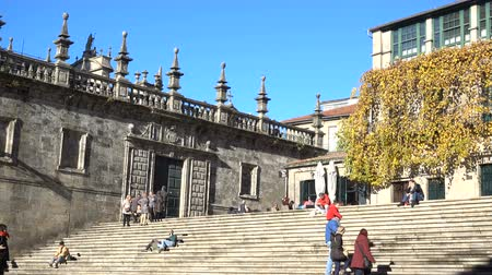 hacı : Staircase in the square behind the cathedral of Santiago de Compostela, Spain, culmination of the Camino de Santiago pilgrimage route