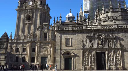 final destination : Rear side and entrance of the cathedral in Santiago de Compostela, Spain, culmination of the Camino de Santiago pilgrimage route