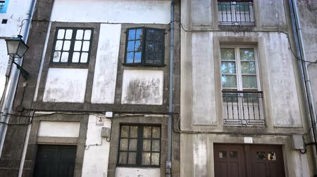 final destination : Old traditional buildings in small square in Santiago de Compostela, Spain Stock Footage