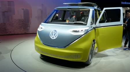 New Volkswagen Bully prototype at the IAA auto show in Frankfurt, Germany on September 13, 2017. Стоковые видеозаписи