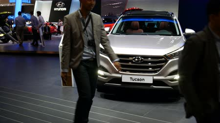 Hyundai Tucson exhibited at the IAA auto show in Frankfurt, Germany on September 13, 2017. Стоковые видеозаписи