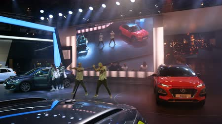 Dancers at Hyundai booth during IAA car show in Frankfurt, Germany on September 13, 2017.