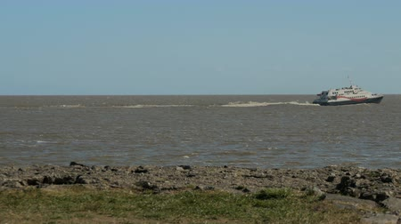 Colonia Express ferry crosses the Rio de la Plata (River Plate), going to Argentina from Uruguay.